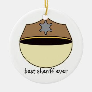 Custom Best Sheriff Ever Round Ceramic Decoration