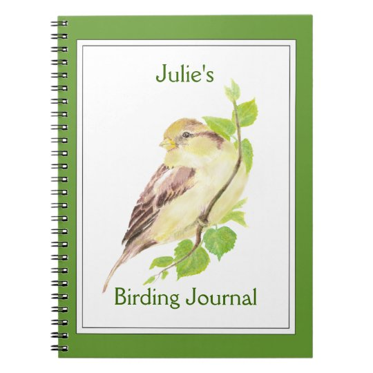Custom,Birder Journal with Watercolor Sparrow Notebook