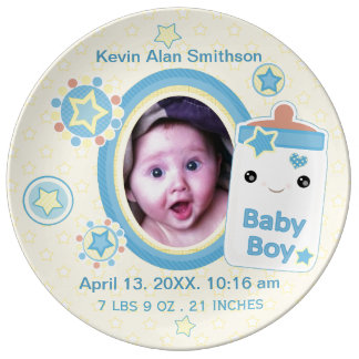 Custom Birth Announcement Boy Baby Porcelain Plate