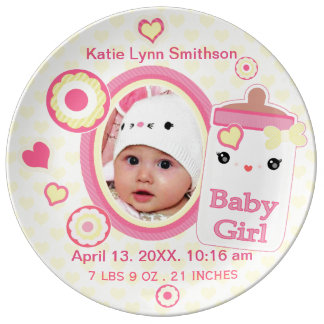 Custom Birth Announcement Girl Baby Keepsake Plate Porcelain Plate