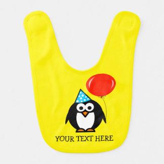 Custom Birthday baby bib with funny animal penguin