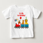 Custom Birthday Boy Zoo Safari Animal Lion Monkey Baby T-Shirt