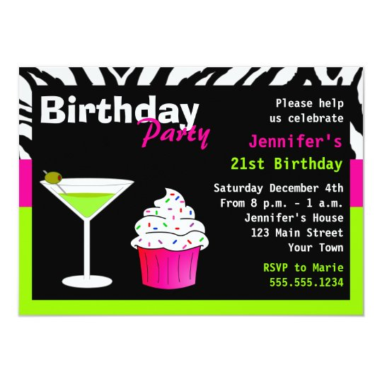 Custom Birthday Cocktail Party Lime Green Zebra Card