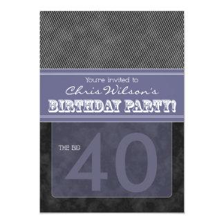:custom: birthday invitation_black/purple 5x7 paper invitation card