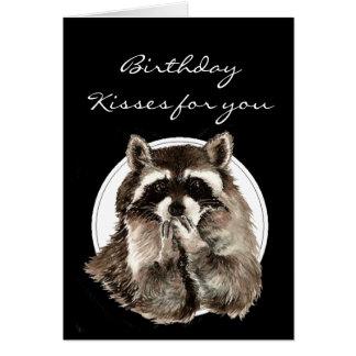 Custom Birthday Kisses for Friend Cute Raccoon Greeting Card
