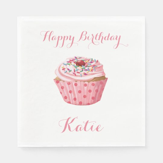 Custom Birthday Napkins,Pink Girly Cupcake Disposable Napkins