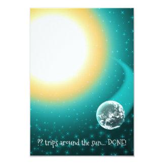 Custom Birthday Orbits Around the Sun 9 Cm X 13 Cm Invitation Card