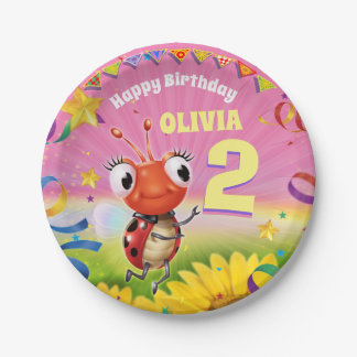Custom Birthday Party plate girl 2yrs old