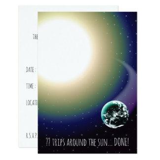 Custom Birthday Trips Around the Sun 9 Cm X 13 Cm Invitation Card