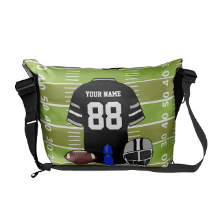 Custom Black and Gray Football Jersey on Field Messenger Bags