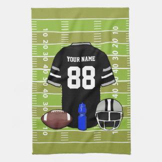 Custom Black and Gray Football Jersey on Field Tea Towel