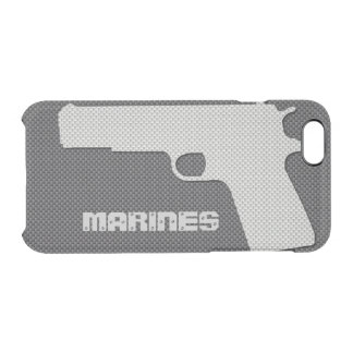 Custom Black and Grey Carbon Fiber Marines Gun Clear iPhone 6/6S Case