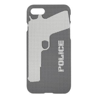 Custom Black and Grey Carbon Fibre Police Gun iPhone 7 Case