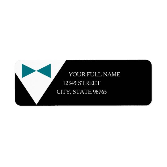 Custom Black and Teal Tuxedo Formal Mailing Labels