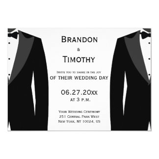 Custom Black And White Gay Wedding Invitations
