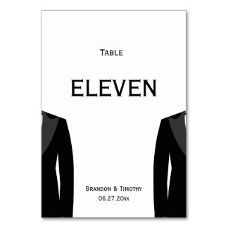 Custom Black And White Gay Wedding Table Numbers Table Cards