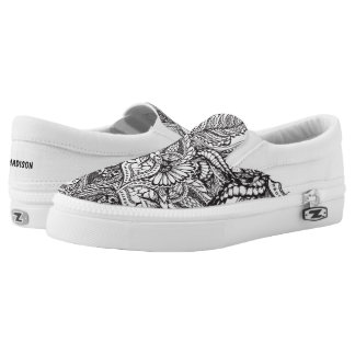 Custom black and white hand drawn floral pattern Slip-On shoes