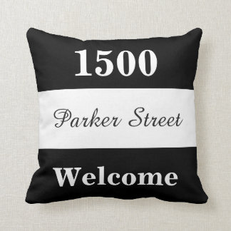 Custom Black and White House Number Sign Cushion