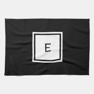 Custom Black and White Monogrammed Kitchen Towel