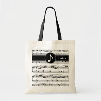 custom black and white musical notes budget tote bag