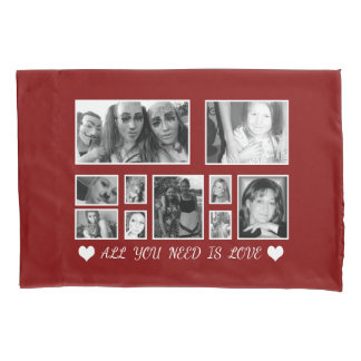 Custom Black And White Photo Maroon Pillowcase