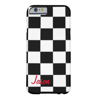 Custom black and white square race flag barely there iPhone 6 case