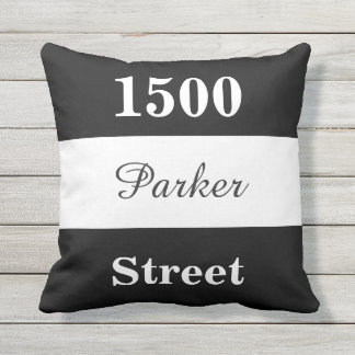 Custom Black and White Street Address Sign Cushion