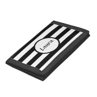 Custom Black and White Striped Wallet