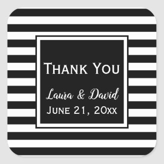 Custom Black and White Striped Wedding Thank You Square Sticker