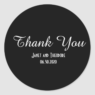 Custom Black and White Wedding Thank You Stickers