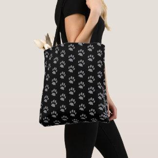 Custom Black Cat Paw Print All-Over-Print Tote Bag