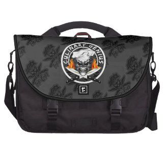 Custom Black Chef Skull: Culinary Genius Laptop Bag