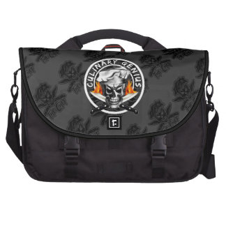 Custom Black Chef Skull: Culinary Genius Laptop Messenger Bag