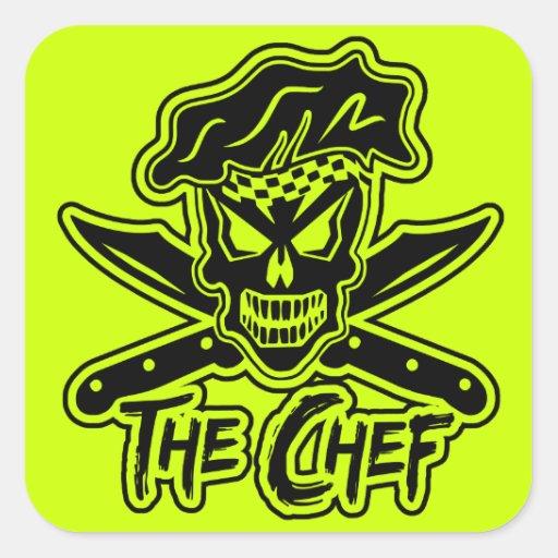 Custom Black Chef Skull Stickers