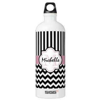 Custom black chevron pattern water bottle