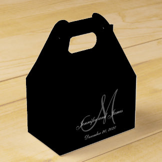 Custom Black Colored Monogram Wedding Favor Box