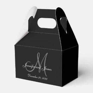 Custom Black Colored Monogram Wedding Favor Box Favour Boxes