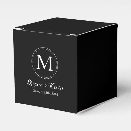 Custom Black Coloured Monogram Favour Boxes