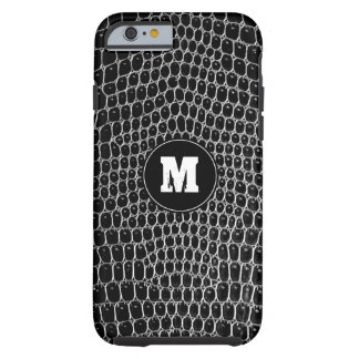 Custom Black Croc Monogram Faux Crocodile Skin Tough iPhone 6 Case
