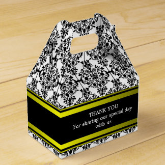 Custom Black Damask Wedding Gable Favour Box