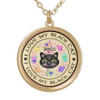 Custom Black Girl Cat Lover's Kitty Art Necklace