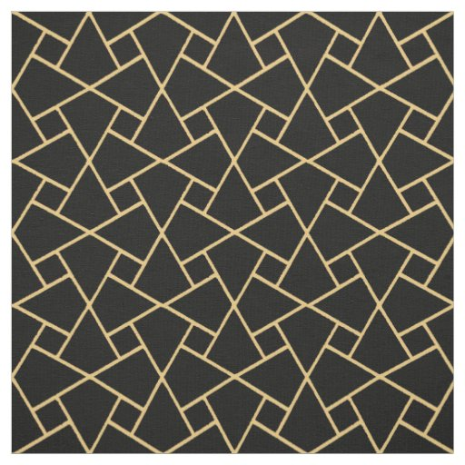 Custom Black Gold-effect Islamic Geometric Pattern Fabric