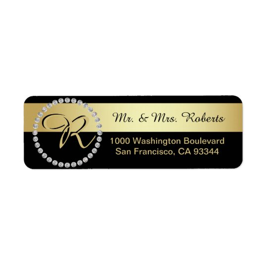 Custom Black Gold Foil Diamond Monogram Letter Return Address Label