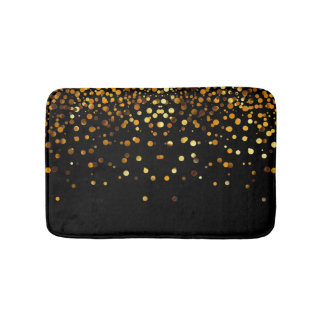 Custom Black Gold Glitter Confetti Personalized Bath Mat