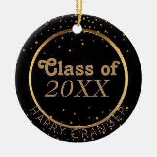 Custom Black Gold Graduation Class of Keepsake Christmas Ornament