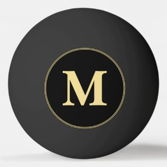 Custom Black Gold Monogrammed Table Tennis Beer Ping Pong Ball