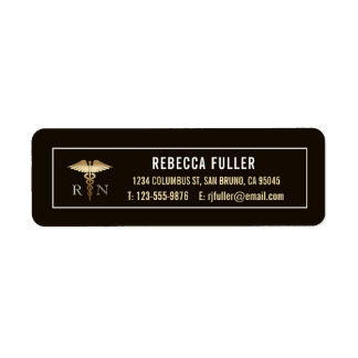Custom Black & Gold Nursing Address