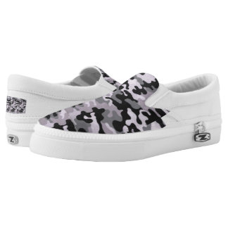 Custom black/gray camo Zipz Slip On Shoes Printed Shoes