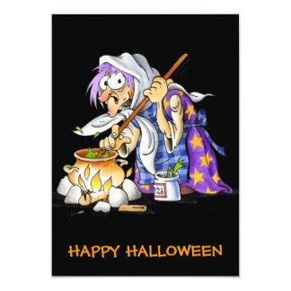 Custom Black Happy Halloween Cards With Witch 13 Cm X 18 Cm Invitation Card