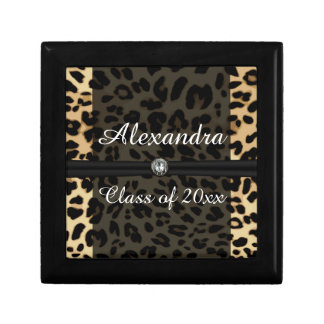 Custom Black Leopard Ribbon Jewel Girl Graduation Gift Box
